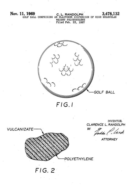 GOLF BALL PATENT: Golfing Design Art Print - The Print Arcade