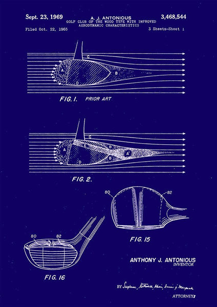 GOLF CLUB PATENT: Aerodynamic Design Art Print - The Print Arcade