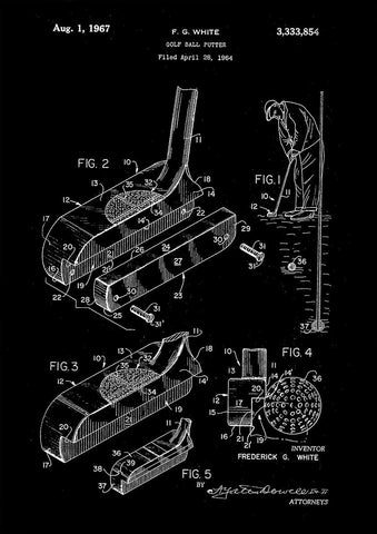 GOLF PUTTER PATENT: Golfing Design Art Print
