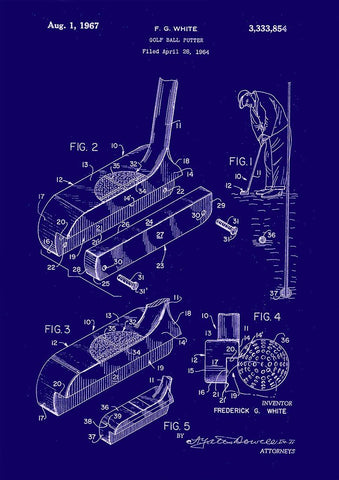 GOLF PATENT PRINTS: Golf Club Blueprint Designs (set of six) - The Print Arcade