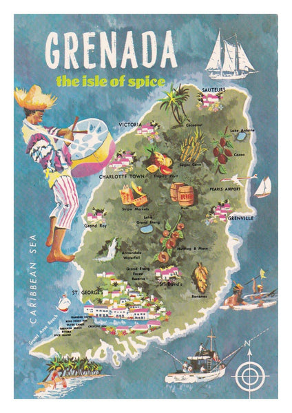 GRENADA TOURISM POSTER: Vintage Isle of Spice Travel Print