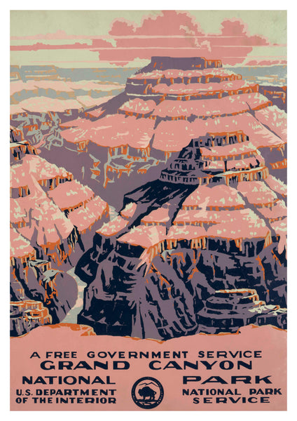 GRAND CANYON PRINT: Vintage National Park Service Travel Poster - The Print Arcade