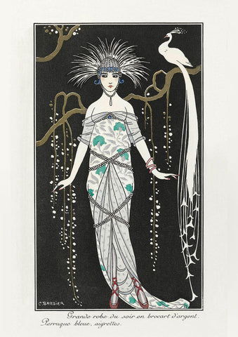 GEORGE BARBIER PRINT: Grande Robe du Soir with White Peacock