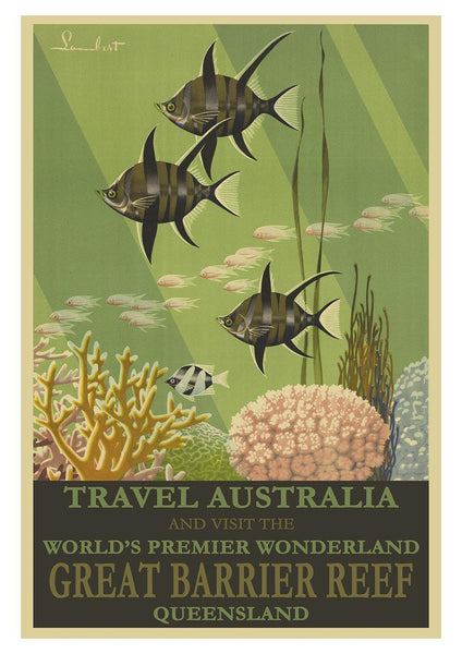 GREAT BARRIER REEF POSTER: Vintage Australia Travel Advert