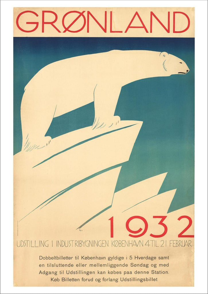 GREENLAND POSTER: Vintage Polar Bear Exhibition Print - The Print Arcade