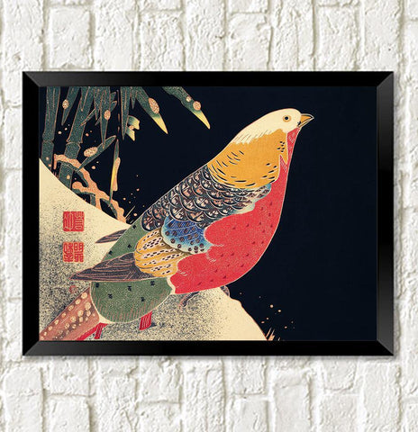 PHEASANT ART PRINT: Vintage Japanese Bird Illustration