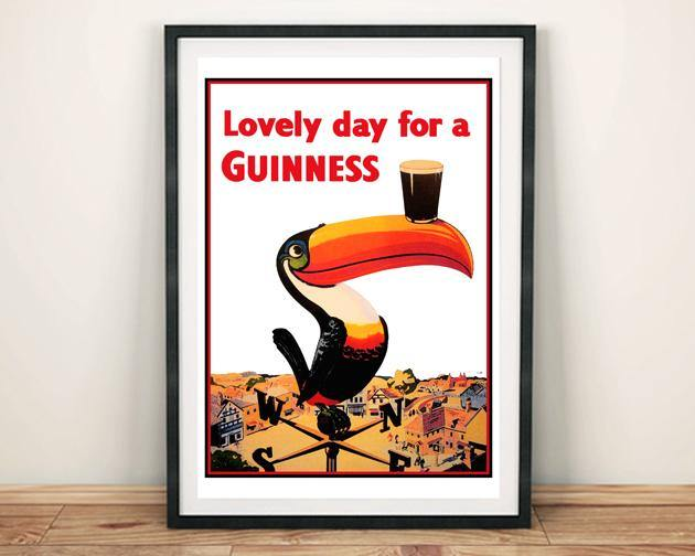 GUINNESS POSTER: Lovely Day Toucan Advert Art Print - The Print Arcade