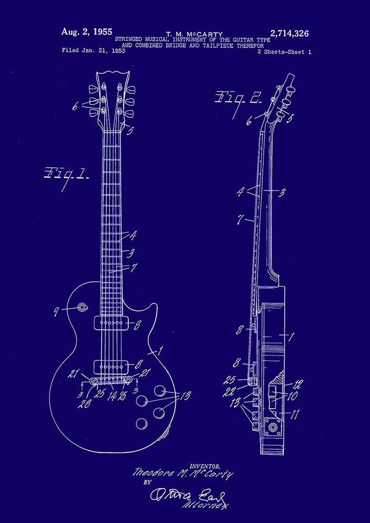 Guitar Patent Print Gibson Les Paul Blueprint Artwork