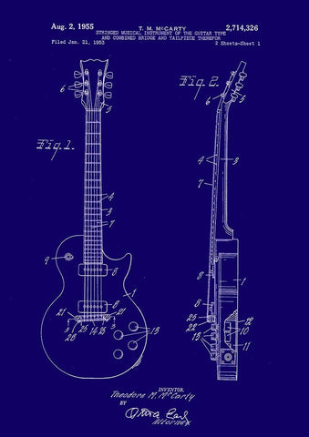 GUITAR PATENT PRINT: Gibson Les Paul Blueprint Artwork