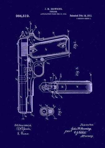 GUN PATENT PRINT: Browning Firearm Design Blueprint