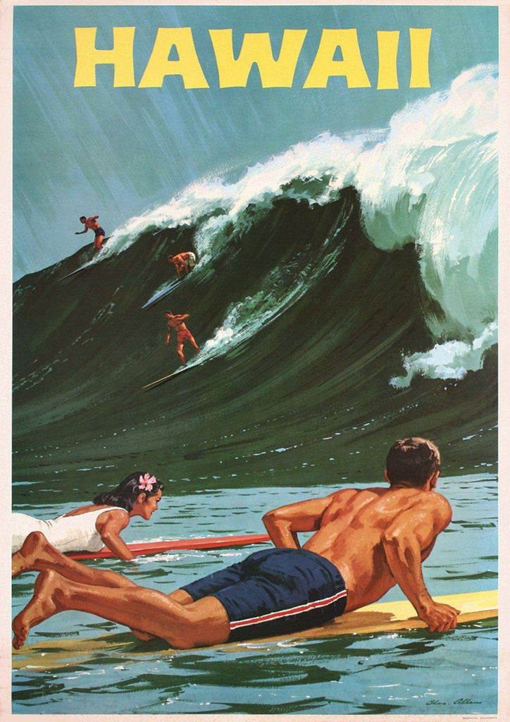 HAWAIIAN SURFING POSTER: Vintage Green Sea Travel Print - The Print Arcade