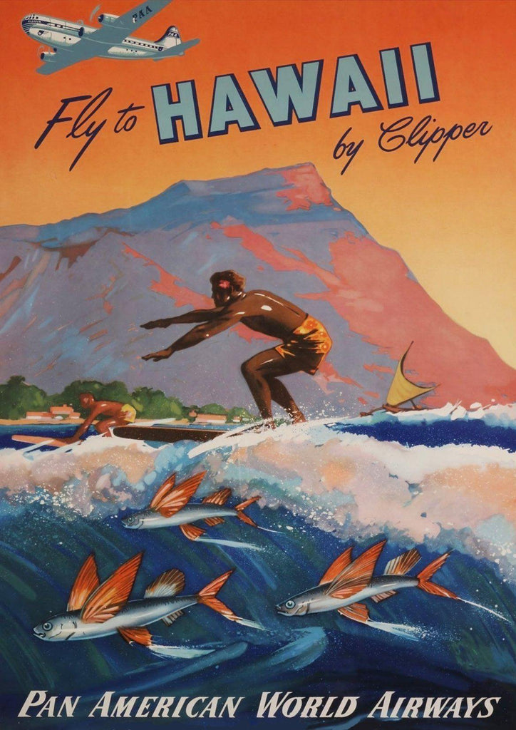 HAWAII SURF POSTER: Vintage Clipper Travel Advert - The Print Arcade