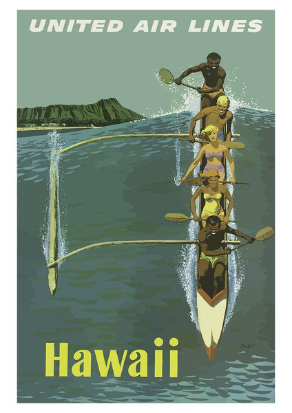 HAWAII CANOE POSTER: Vintage Travel Print