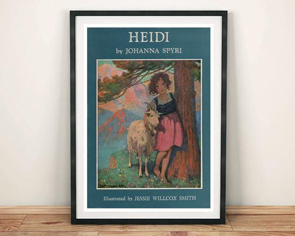 Classic Children S Book Covers Framed : Heidi poster vintage book cover art print the arcade