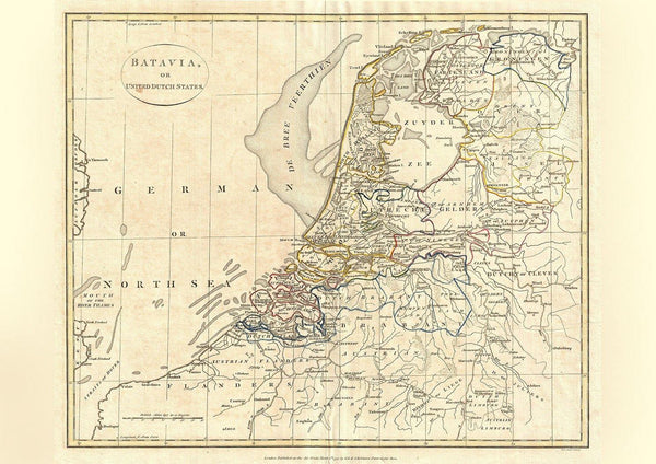 HOLLAND MAP: Vintage Dutch Atlas Art Print