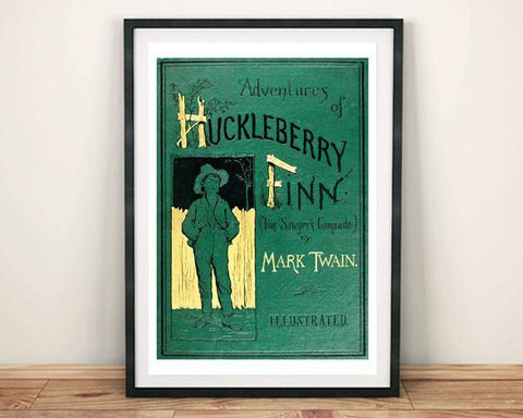 HUCKLEBERRY FINN PRINT: Vintage Twain Book Cover Art Poster - The Print Arcade