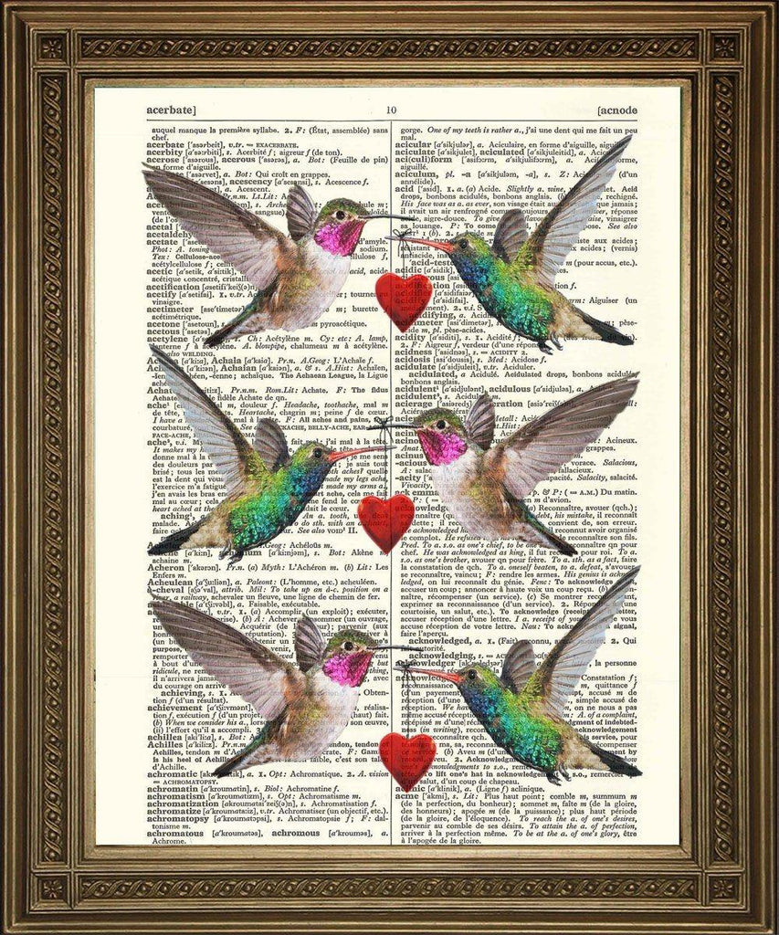 HUMMING BIRD HEARTS: Sweetheart Birds, Dictionary Art Print - The Print Arcade