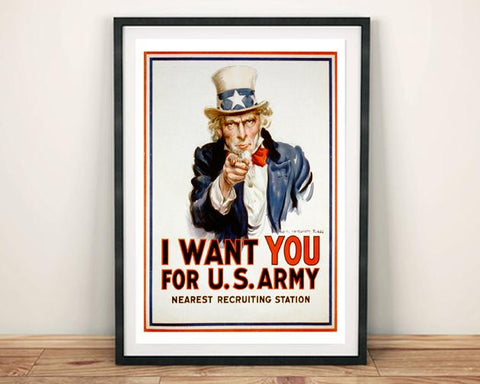 UNCLE SAM POSTER: 'I Want You' Army Recruitment Print