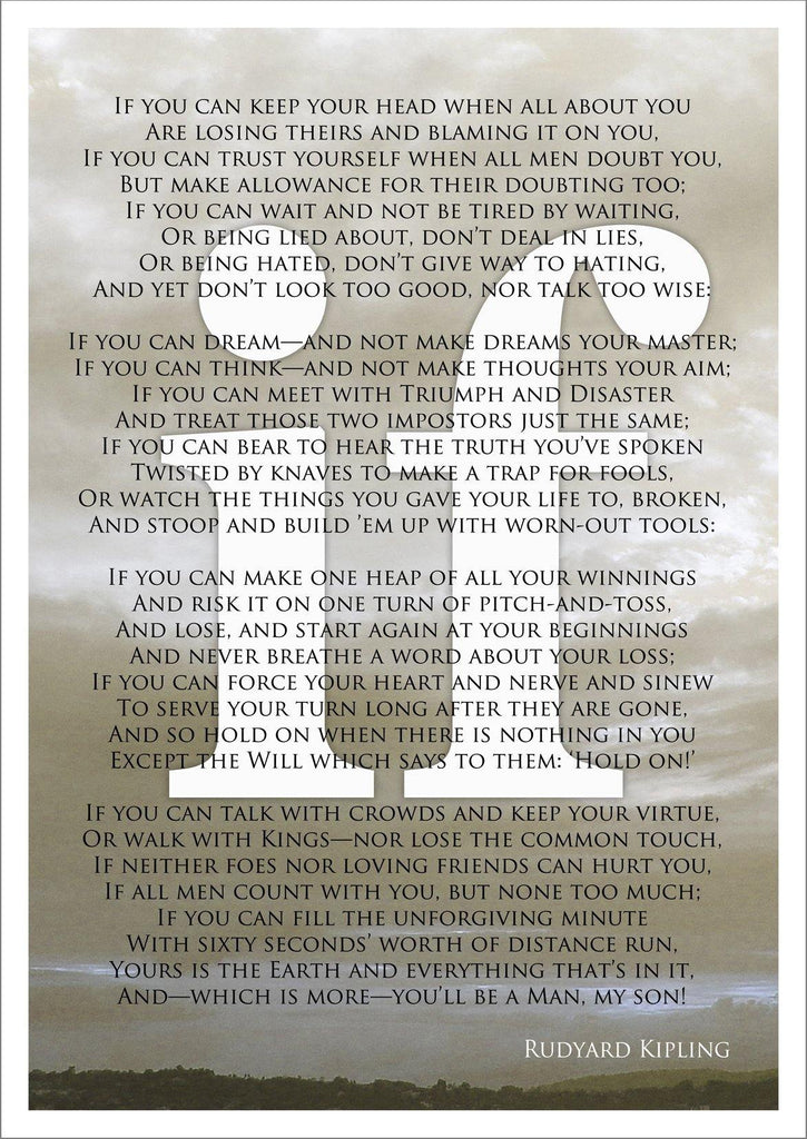 picture regarding If by Rudyard Kipling Printable referred to as IF POEM PRINT: Rudyard Kipling Poetry Artwork