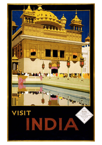 VISIT INDIA POSTER: Vintage Palace Travel Print