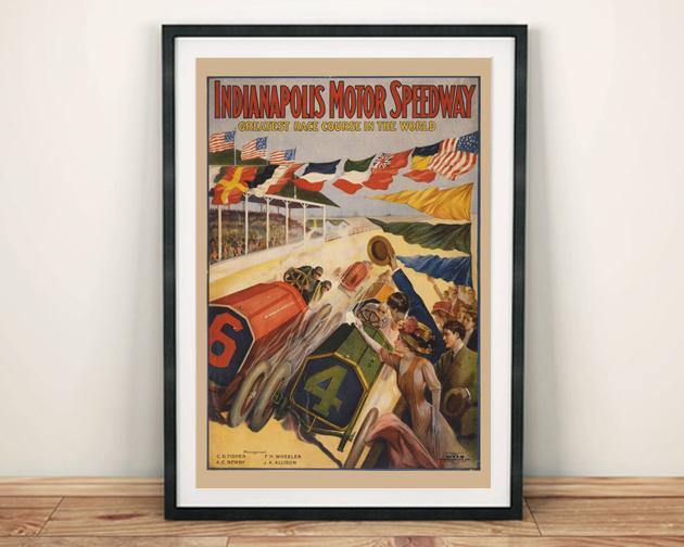 INDIANAPOLIS POSTER: Vintage Motor Speedway Print - The Print Arcade