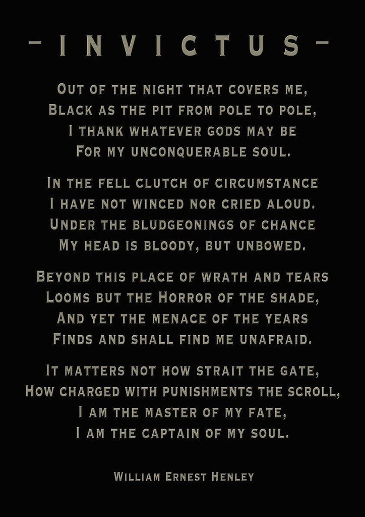 INVICTUS POETRY PRINT: 'Captain of My Soul' Art - The Print Arcade