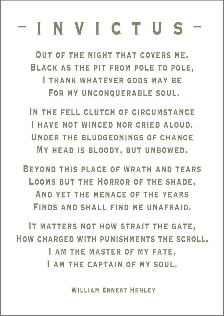 Invictus Poetry Print Captain Of My Soul Art The