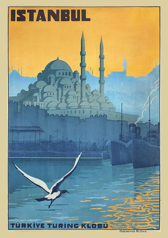 ISTANBUL TRAVEL POSTER: Blue Mosque Vintage Tourism Print