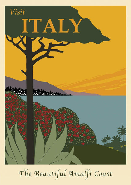 AMALFI TRAVEL POSTER: Visit Italy Beautiful Coast Print