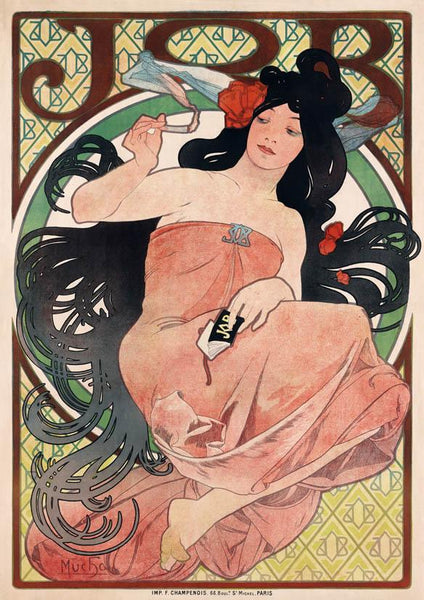 JOB CIGARETTE POSTER: Mucha Advert Print - The Print Arcade