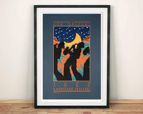 GREY JAZZ POSTER: New Orleans Music Festival Print - The Print Arcade
