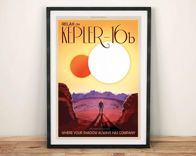 KEPLER 16b POSTER: NASA Two Shadows Space Print - The Print Arcade