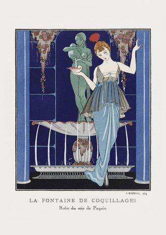GEORGE BARBIER PRINT: La Fontaine de Coquillages with Paquin Dress