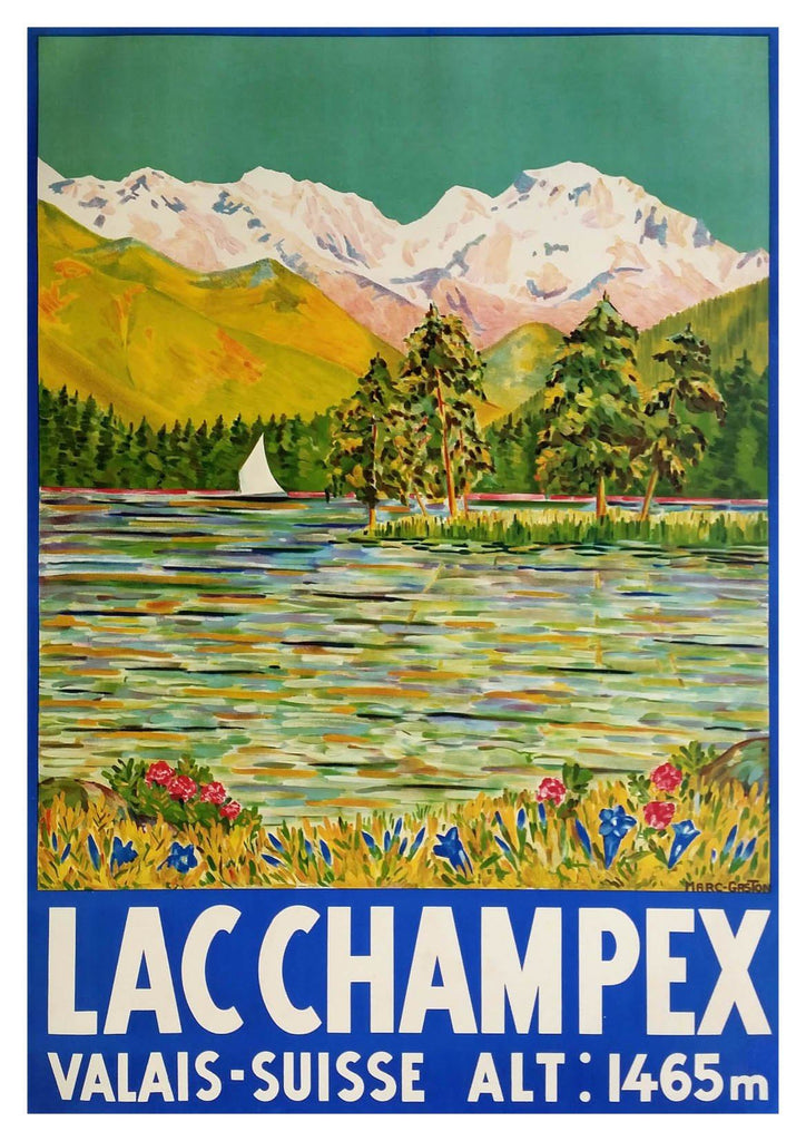 LAC CHAMPEX POSTER: Swiss Lake Travel Print - The Print Arcade