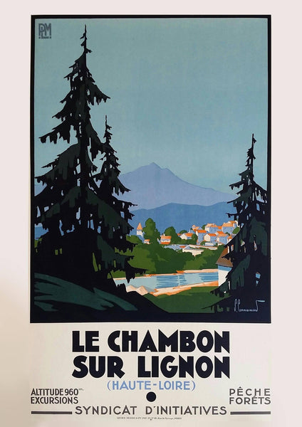 LE CHAMBON-SUR-LIGNON POSTER: Vintage French Travel Print - The Print Arcade