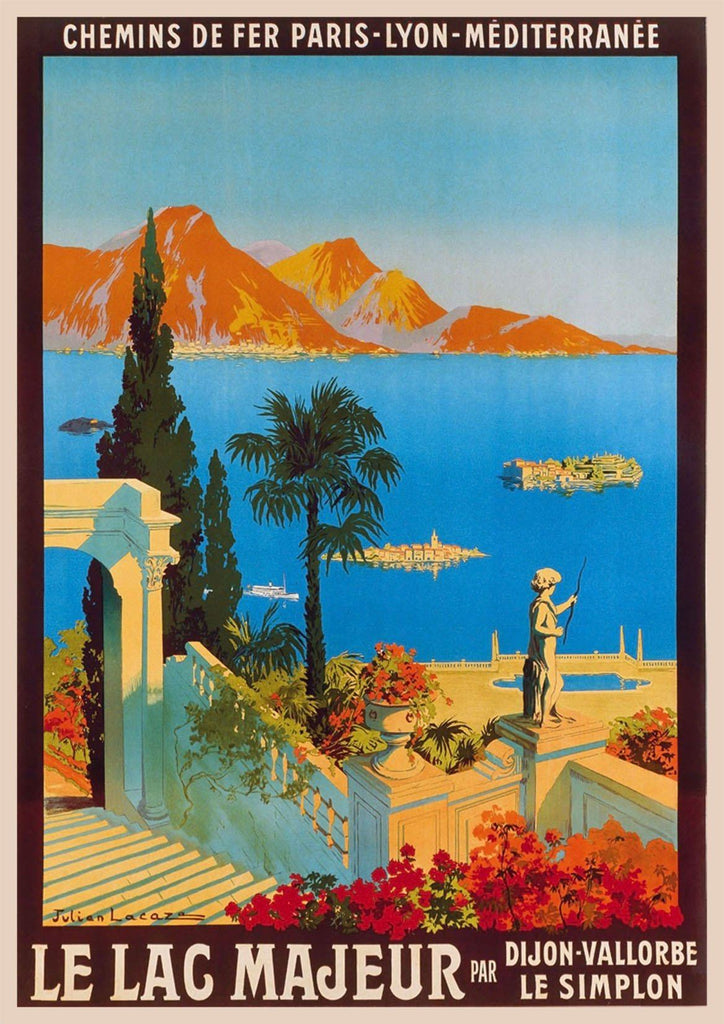 LAC MAJEUR POSTER: Vintage Mediterranean Travel Advert Print - The Print Arcade