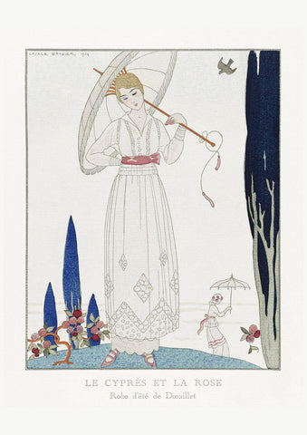 GEORGE BARBIER PRINT: Le Cyprès et la Rose with White Dress