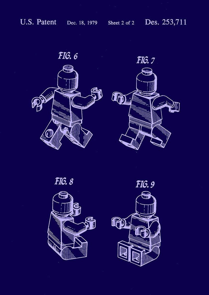 LEGO MAN BLUEPRINT: Patent Design Artwork Poster - The Print Arcade