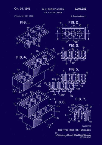 LEGO BRICK BLUEPRINT: Patent Design Artwork Poster
