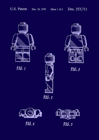 LEGO MAN PATENT: Blueprint Design Artwork Poster