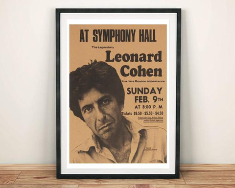 LEONARD COHEN POSTER: Vintage Concert Poster Reproduction Print - The Print Arcade