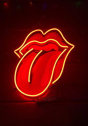 LIPS PRINT: Rolling Stones Tongue Logo Neon Wall Art