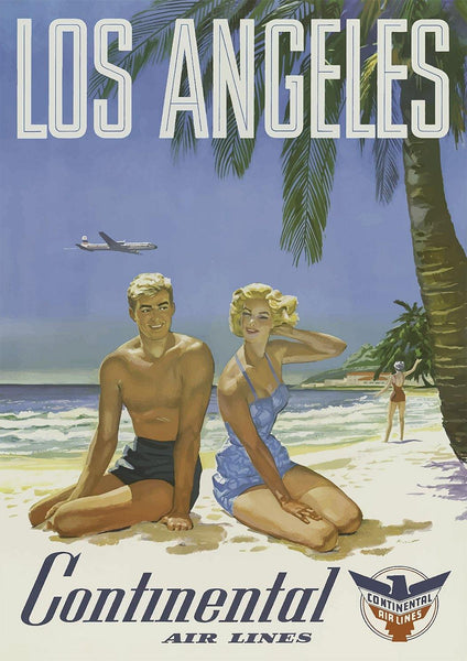 LA BEACH POSTER: Vintage California Travel Advert