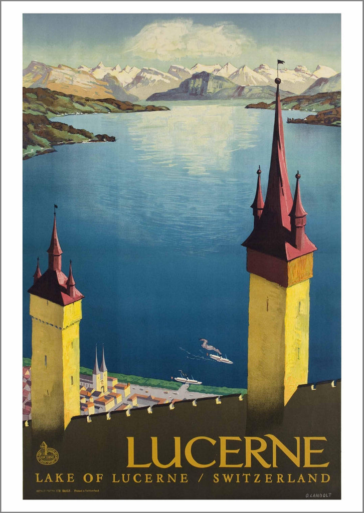 LUCERNE TRAVEL POSTER: Vintage Tower Print - The Print Arcade