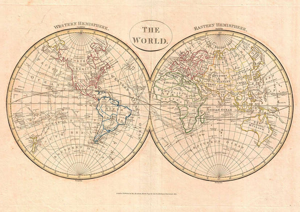 MAP PRINT: Clement Cruttwell Globe Atlas Illustration