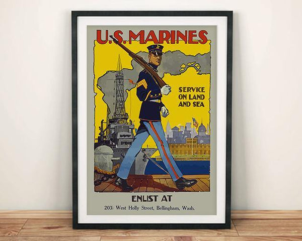 U.S. MARINES POSTER: Vintage Soldier Recruitment Enlist Art Print