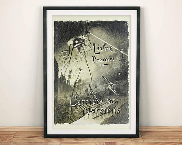 MARTIANS POSTER: Vintage Book Cover Illustration Art Print