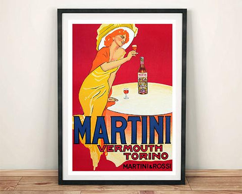 MARTINI POSTER: Vintage Red Vermouth Drink Art Print