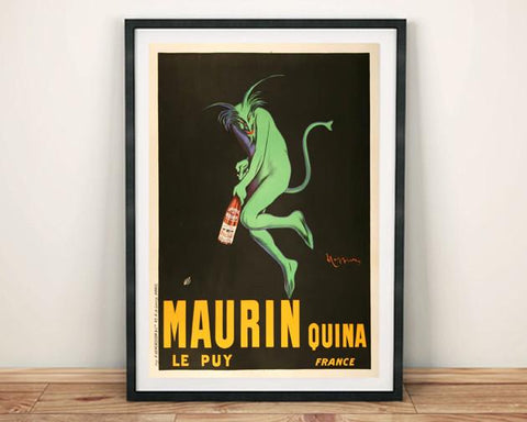 MAURIN POSTER: Vintage Green Demon Alcohol Art Print