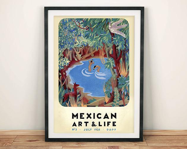 ART & LIFE POSTER: 1930s Mexican Magazine Cover Forest Print
